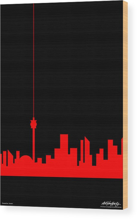 Toronto Wood Print featuring the painting Toronto Skyline by Asbjorn Lonvig