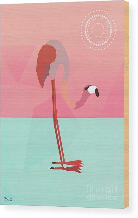 Flamingo Wood Print featuring the digital art Tropical Flamingo by Mark Ashkenazi