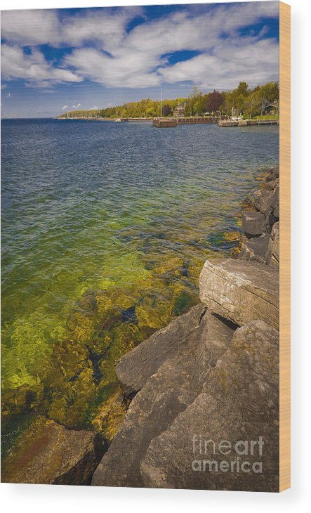 Door County Wood Print featuring the photograph Tropical Waters of Door County Wisconsin by Ever-Curious Photography