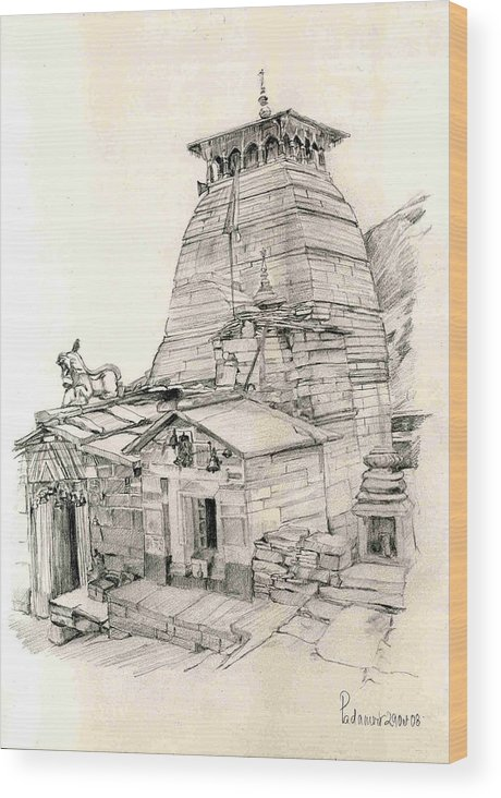 Landscape Wood Print featuring the painting Tungnath by Padamvir Singh