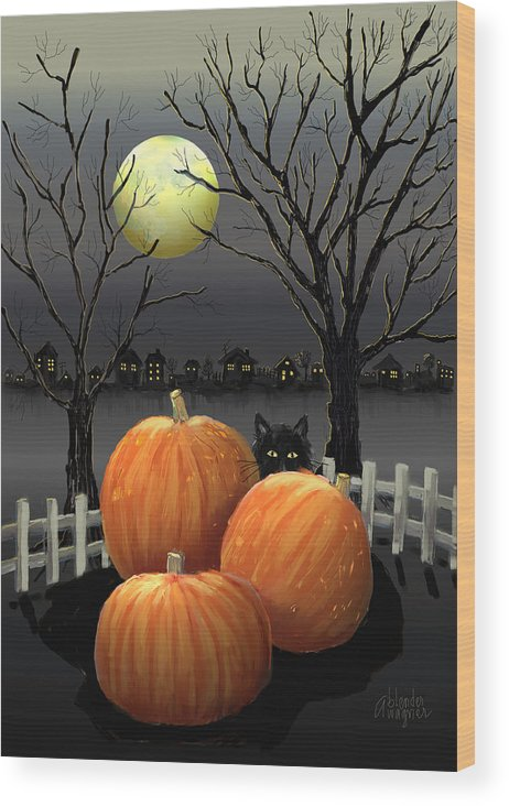 Pumpkin Wood Print featuring the digital art Under The Full Moon by Arline Wagner