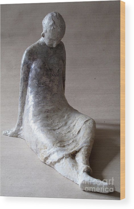 Sculpture Wood Print featuring the sculpture Unnamed by Raimonda Jatkeviciute-Kasparaviciene