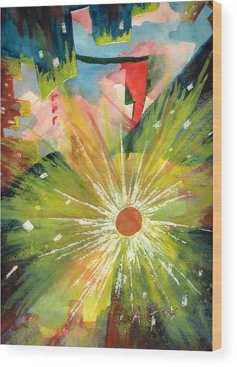 Downtown Wood Print featuring the painting Urban Sunburst by Andrew Gillette