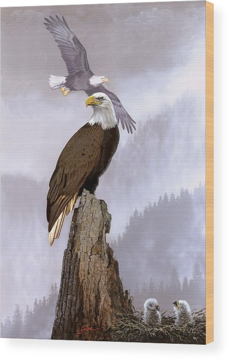 Wildlife Wood Print featuring the painting Wake Up Call by Harold Shull