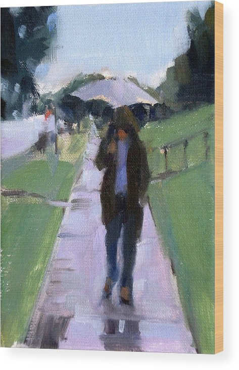 Figurative Wood Print featuring the painting Walking in the Rain by Merle Keller