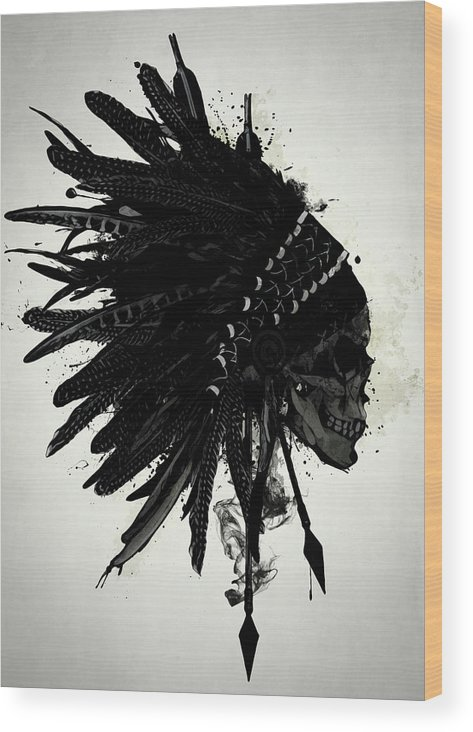 Indian Wood Print featuring the digital art Warbonnet Skull by Nicklas Gustafsson
