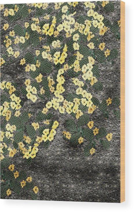 Anne Norskog Wood Print featuring the painting Wyoming Cactus by Anne Norskog