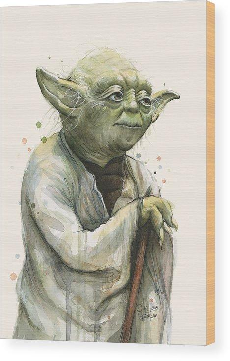 Yoda Wood Print featuring the painting Yoda Portrait by Olga Shvartsur