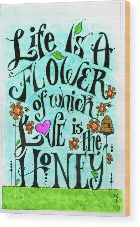 030_flowery_life Wood Print featuring the painting 030_flowery_life by Maureen Lisa Costello