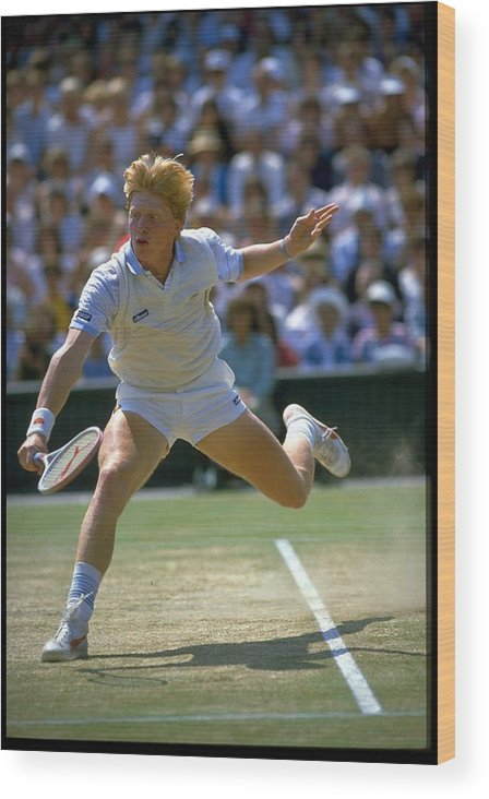 1980-1989 Wood Print featuring the photograph Boris Becker Ger Wimbledon by Getty Images