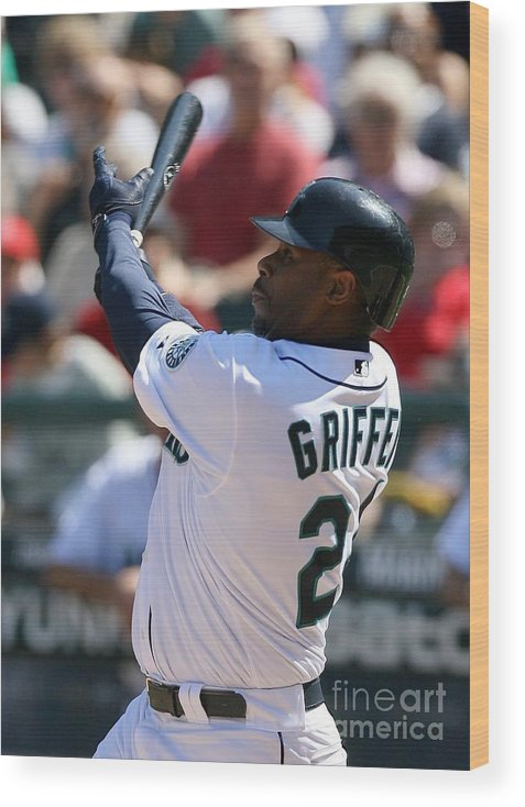 American League Baseball Wood Print featuring the photograph Ken Griffey Jr. Retires From Seattle by Otto Greule Jr