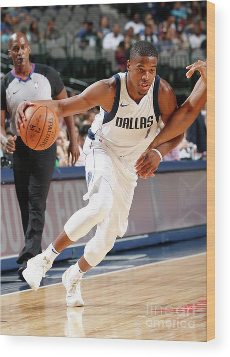Nba Pro Basketball Wood Print featuring the photograph Milwaukee Bucks V Dallas Mavericks by Glenn James