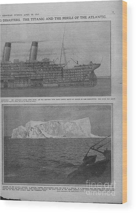 Iceberg Wood Print featuring the drawing Sectional Diagram Of The Titanic by Print Collector