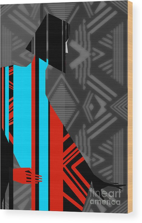 Dress Wood Print featuring the digital art Artistic Fashion Colorful Illustration by Alina Shakhovets