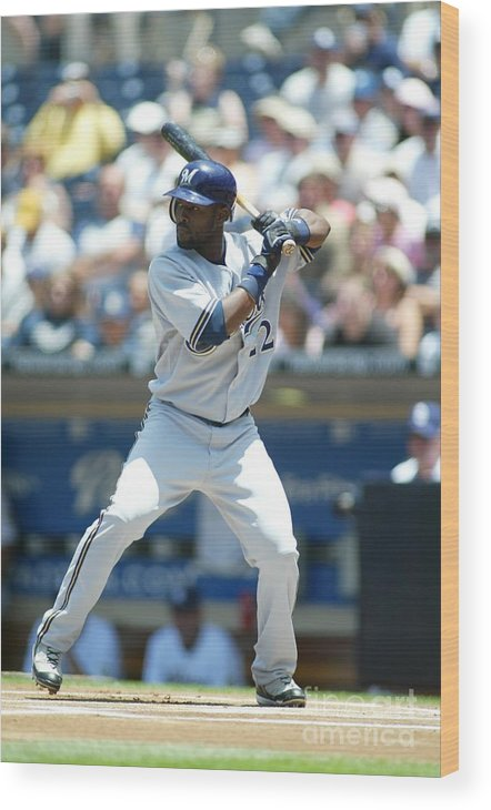 Tony Gwynn Jr. Wood Print featuring the photograph Milwaukee Brewers V San Diego Padres by Rob Leiter