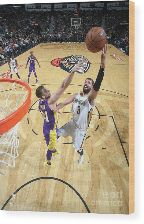 Smoothie King Center Wood Print featuring the photograph Los Angeles Lakers V New Orleans by Layne Murdoch