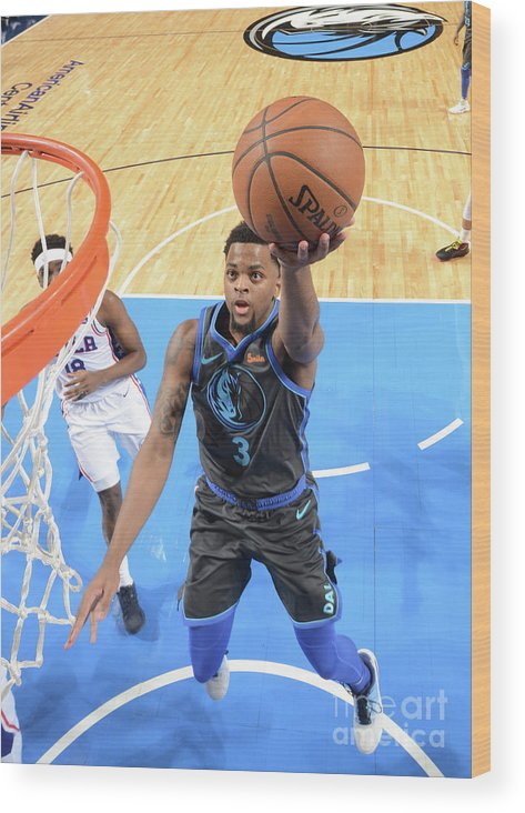 Nba Pro Basketball Wood Print featuring the photograph Philadelphia 76ers V Dallas Mavericks by Glenn James