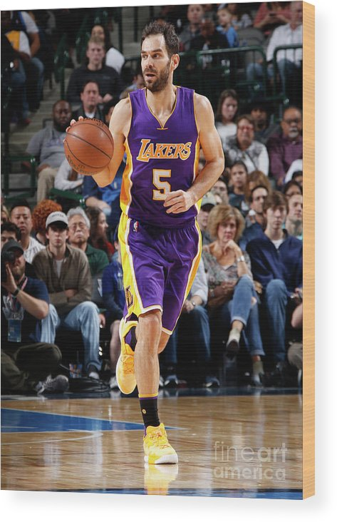 Nba Pro Basketball Wood Print featuring the photograph Los Angeles Lakers V Dallas Mavericks by Glenn James