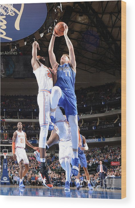 Nba Pro Basketball Wood Print featuring the photograph New York Knicks V Dallas Mavericks by Glenn James