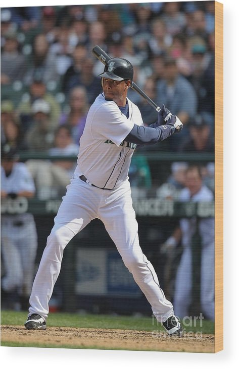 American League Baseball Wood Print featuring the photograph Detroit Tigers V Seattle Mariners by Otto Greule Jr