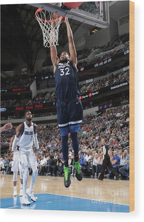 Nba Pro Basketball Wood Print featuring the photograph Minnesota Timberwolves V Dallas by Glenn James