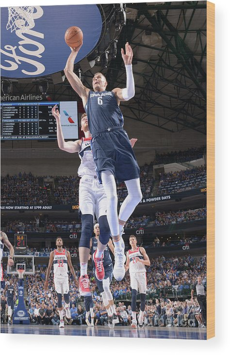 Nba Pro Basketball Wood Print featuring the photograph Washington Wizards V Dallas Mavericks by Glenn James