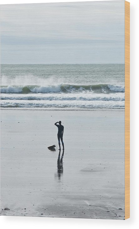 Young Men Wood Print featuring the photograph A Surfer Watches The Waves Before by Mark Marchesi