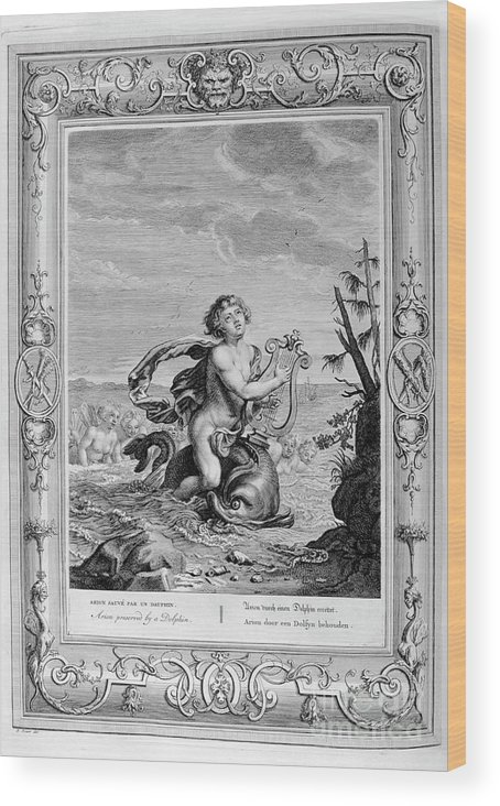Singer Wood Print featuring the drawing Arion Saved By A Dolphin, 1733. Artist by Print Collector