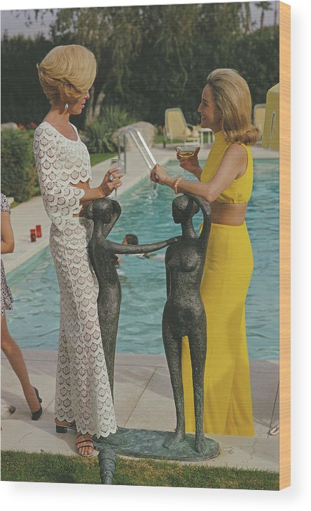 Fashion Model Wood Print featuring the photograph At The Kaufmann Desert House by Slim Aarons
