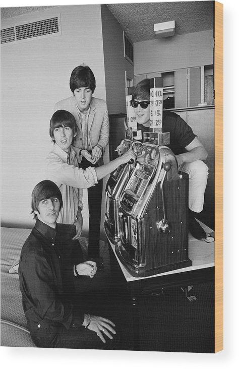 Singer Wood Print featuring the photograph Beatles In Vegas by Harry Benson