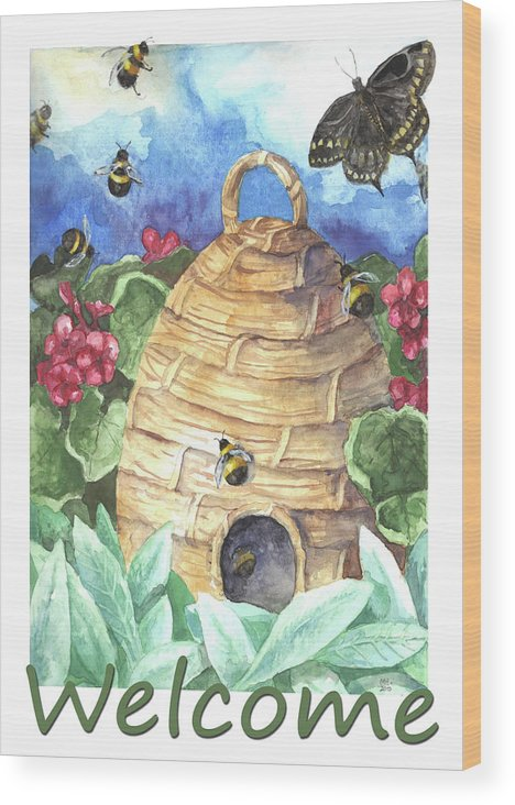 Beehive Wood Print featuring the painting Beehive Welcome by Melinda Hipsher