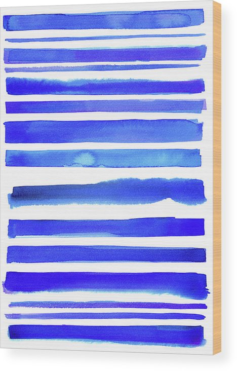 Art Wood Print featuring the digital art Blue Textured Stripes by Johnwoodcock
