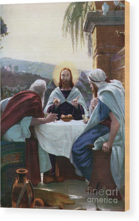 West Bank Wood Print featuring the drawing Breaking Of Bread At Emmaus, 1926 by Print Collector