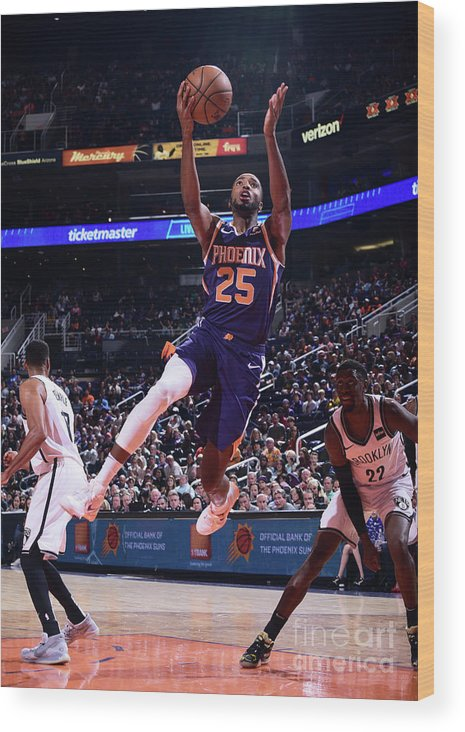 Nba Pro Basketball Wood Print featuring the photograph Brooklyn Nets V Phoenix Suns by Michael Gonzales