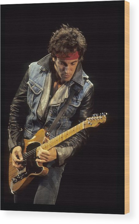 Bruce Springsteen Wood Print featuring the photograph Bruce Springsteen Performs Live by Richard Mccaffrey