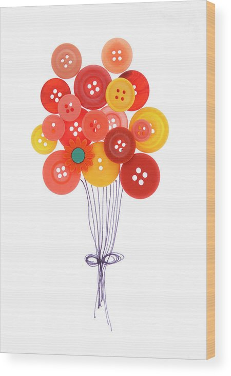 Brampton Wood Print featuring the photograph Buttons As Balloons by Lisa Stokes