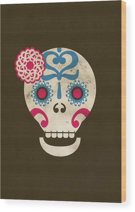 Animal Skull Wood Print featuring the digital art Calaca by Marco Recuero