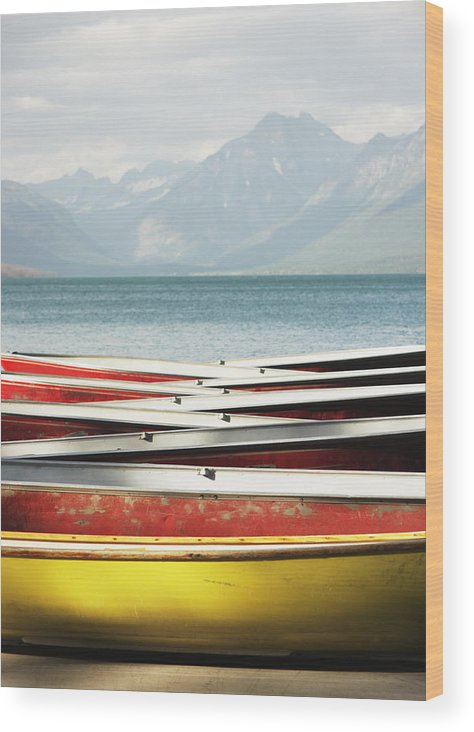 Scenics Wood Print featuring the photograph Canoe Rowboat Dinghy Dock Summer Camp by Chuckschugphotography
