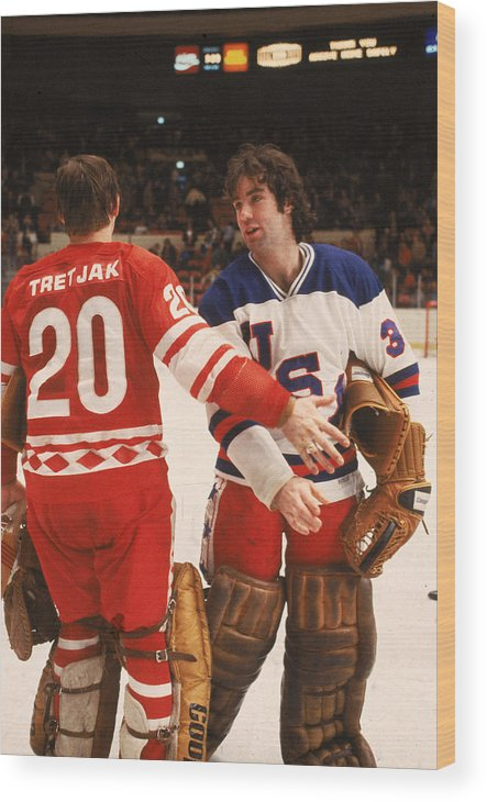1980-1989 Wood Print featuring the photograph Cccp Beats Us Rivals In Exhibition Game by B Bennett