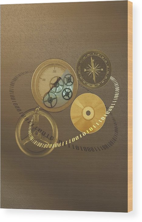 The Media Wood Print featuring the photograph Circular Objects And Binary Code, Cg by Daj