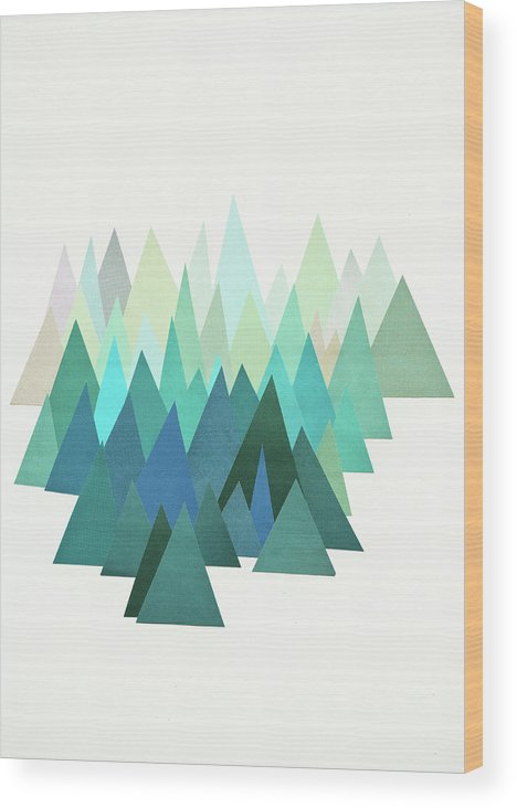 Mountains Wood Print featuring the mixed media Cold Mountain by Cassia Beck