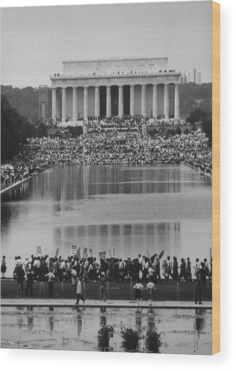 Timeincown Wood Print featuring the photograph Crowd Of People Attending A Civil Rights by John Dominis