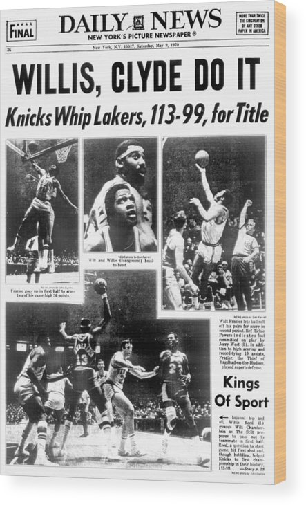 Nba Pro Basketball Wood Print featuring the photograph Daily News Back Page Dated May 9, 1970 by New York Daily News Archive