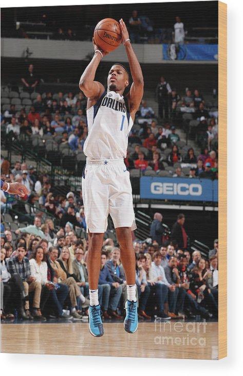 Nba Pro Basketball Wood Print featuring the photograph Detroit Pistons V Dallas Mavericks by Danny Bollinger