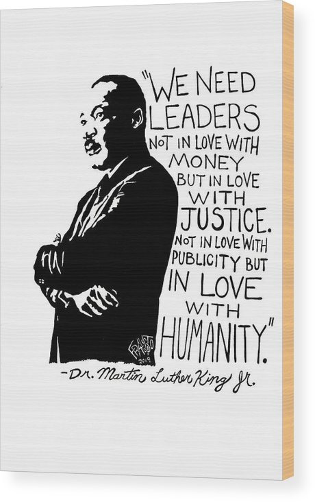 Pen And Ink Illustration Wood Print featuring the drawing Dr. Martin Luther King Jr. Drawing by Rick Frausto