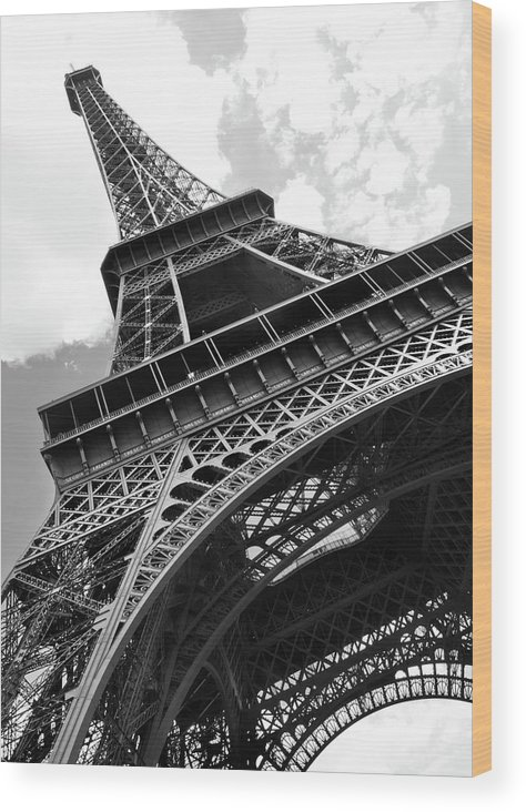 Black Color Wood Print featuring the photograph Eiffel Tower In Black And White by Sarah8000