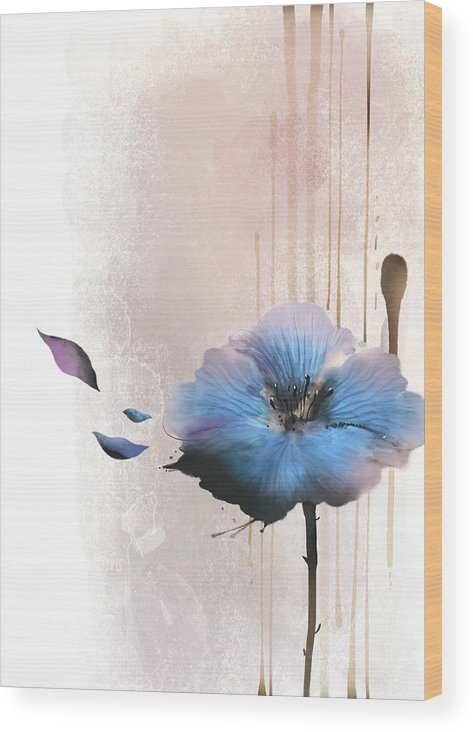 White Background Wood Print featuring the digital art Flower On White Background by Ivary