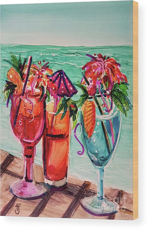 Alcohol Ink Wood Print featuring the mixed media Gal's Afternoon Out by Francine Dufour Jones