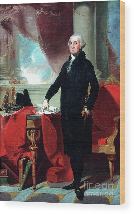 Working Wood Print featuring the drawing George Washington 1732-99, 1796. Artist by Print Collector