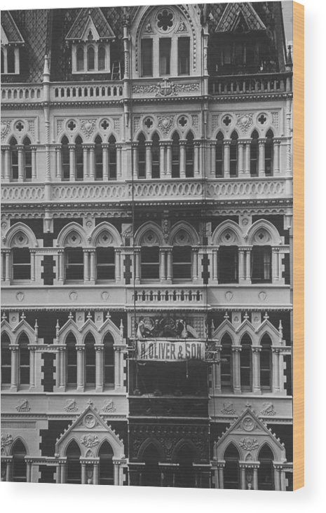 Gothic Style Wood Print featuring the photograph Gothic Architecture Office Building. P by John Dominis